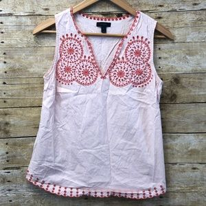 J Crew Embroidered Sleeveless Blouse